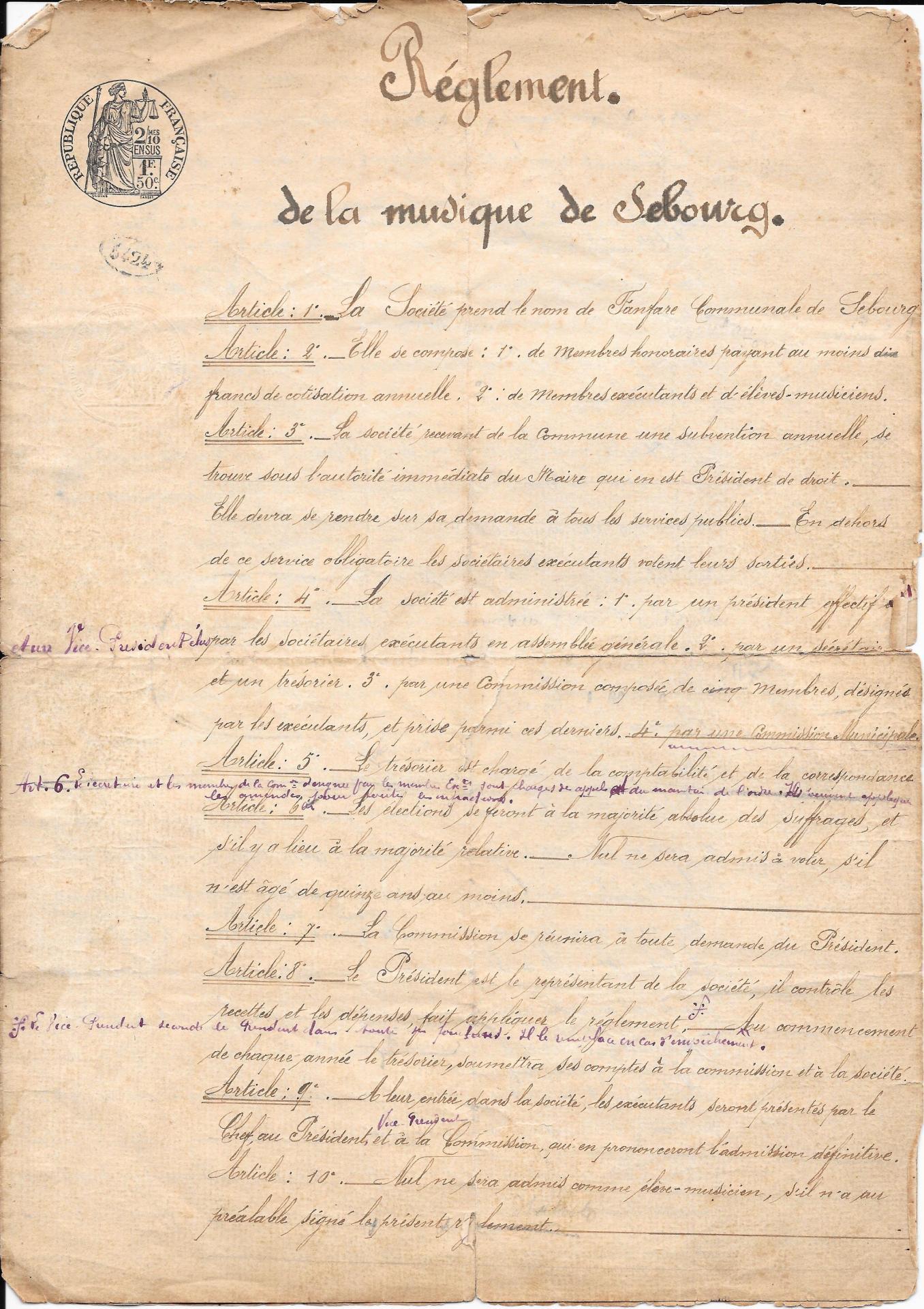 Extrait reglement de la musique 1902